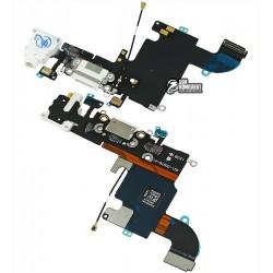 Шлейф для Apple iPhone 6S, белый, коннектора зарядки, коннектора наушников, с компонентами, с микрофоном