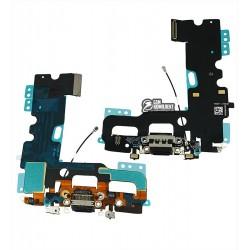 Шлейф для Apple iPhone 7, черный, коннектора зарядки, коннектора наушников, с компонентами