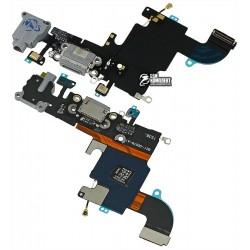 Шлейф для Apple iPhone 6S, черный, коннектора зарядки, коннектора наушников, с компонентами, с микрофоном