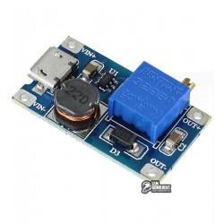 MT3608 с microUSB повышающий DC/DC преобразователь: Uin 2...24 В / Uout до 28 В / Iout до 2 А
