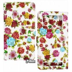 Чехол книжка универсальная для телефона 5,5 дюймов, с цветами