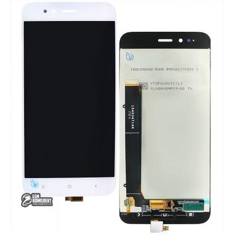 Дисплей для Xiaomi Mi A1, білий, з сенсорним екраном
