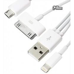 Кабель Micro-USB+Lightning+Apple 30 pin - USB, 2 в1, для Android и iPhone 4/5/6