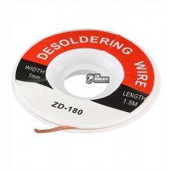 Лента-оплетка 1,0mm косичка для демонтажа ZD-180 длина 1,5м