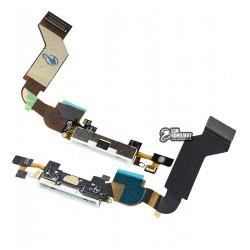 Шлейф для Apple iPhone 4S, белый, коннектора зарядки, микрофона, с компонентами