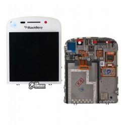 Дисплей для Blackberry Q10, білий, з рамкою, з сенсорним екраном (дисплейний модуль)