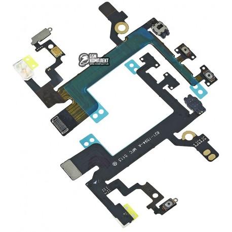 Шлейф для Apple iPhone 5S, бокових клавіш, кнопки ввімкнення, з мікрофоном, з компонентами
