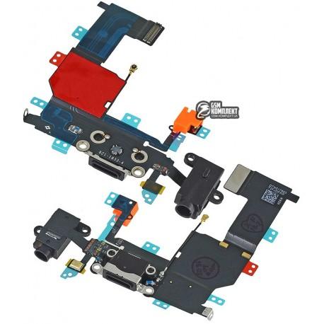 Шлейф для Apple iPhone 5C, чорний, конектора зарядки, конектора навушників, з мікрофоном, з компонентами