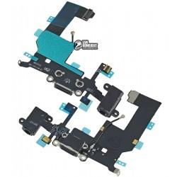 Шлейф для Apple iPhone 5, черный, коннектора зарядки, коннектора наушников, с компонентами, с микрофоном