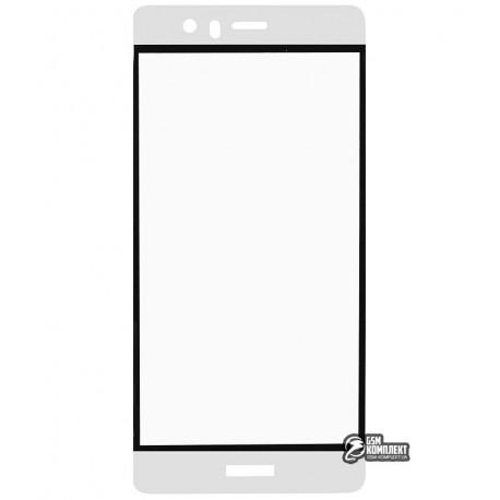 Загартоване захисне скло для Huawei P9, 3D, 0,26 мм 9H, біле с рамкой