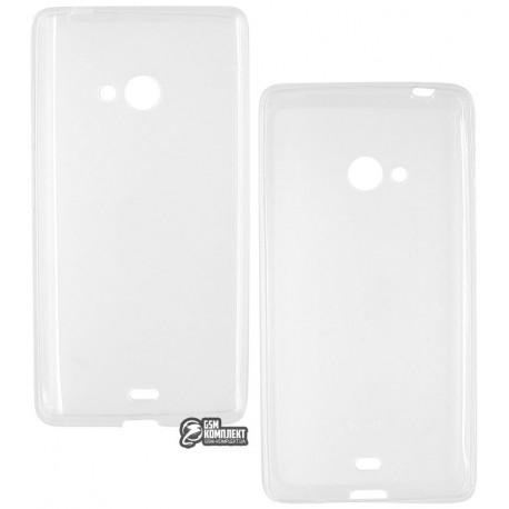 Чехол защитный для Nokia (Microsoft) Lumia 540, силиконовый, прозрачный
