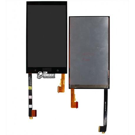 Дисплей для HTC One M7 Dual Sim 802w, чорний, з сенсорним екраном (дисплейний модуль)