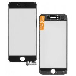 Стекло корпуса для Apple iPhone 7, с OCA-пленкой, с рамкой, черное