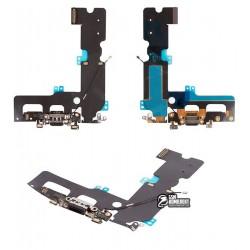 Шлейф для Apple iPhone 7 Plus, коннектора наушников, коннектора зарядки, черный, с компонентами