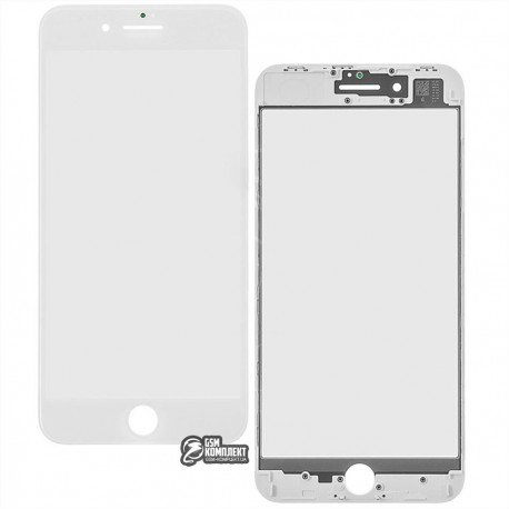 Стекло корпуса для Apple iPhone 8 Plus, с OCA-пленкой, с рамкой, белое