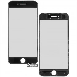 Стекло корпуса для Apple iPhone 8, с OCA-пленкой, с рамкой, черное