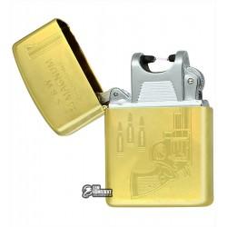 """Зажигалка USB с узором """"револьвер"""", золото, электроимпульсная"""