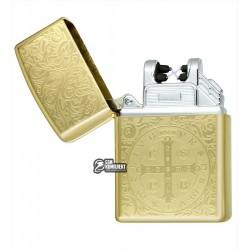 """Зажигалка USB с узором """"герб"""", золото, электроимпульсная"""