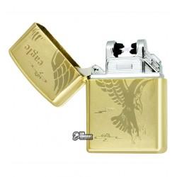 """Зажигалка USB с узором """"Eagle"""", золото, электроимпульсная"""