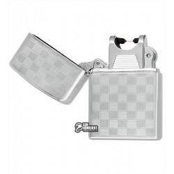 """Зажигалка USB с узором """"мелкая клетка"""", серебро, электроимпульсная"""
