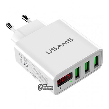 Сетевое зарядное устройство USAMS US-CC035 на 3USB, белое