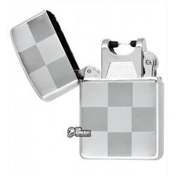 """Зажигалка USB с узором """"крупная клетка"""", серебро, электроимпульсная"""