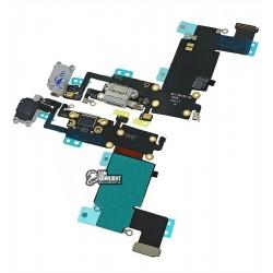 Шлейф для Apple iPhone 6S Plus, коннектора наушников, коннектора зарядки, серый, с компонентами, с микрофоном