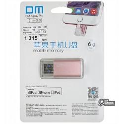 Флешка 64 Gb DM Aiplay Pro APD003, Lightning, USB 3.0, розовая