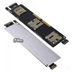 Коннектор SIM-карты для Asus ZenFone 6 (A600CG), на две SIM-карты, со шлейфом, с коннектором карты памяти