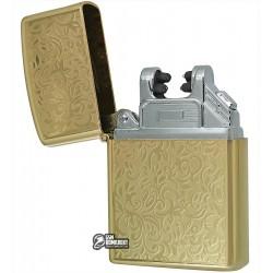 """Зажигалка USB с узором """"листья"""", золото, электроимпульсная XT-4777"""