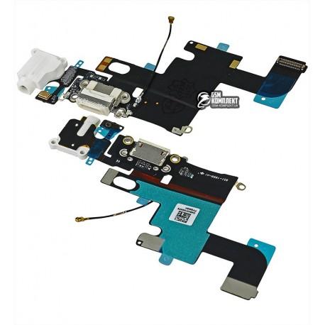 Шлейф для Apple iPhone 6, коннектора наушников, коннектора зарядки, белый, с микрофоном, с компонентами