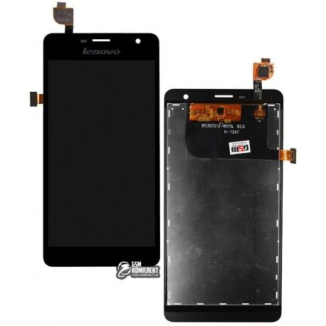 Дисплей для Lenovo K860, чорний, з сенсорним екраном (дисплейний модуль), BTL507212-W575L