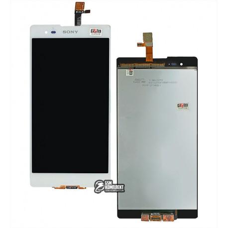 Дисплей для Sony D5303 Xperia T2 Ultra, Sony D5322 Xperia T2 Ultra Dual, белый, с тачскрином
