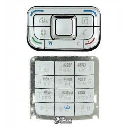 Клавиатура для Nokia E65, серебристая, русская, верхняя, нижняя