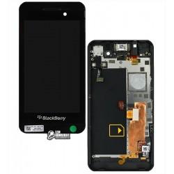 Дисплей для Blackberry Z10, черный, с рамкой, с передней панелью, с сенсорным экраном (дисплейный модуль), версия 4G