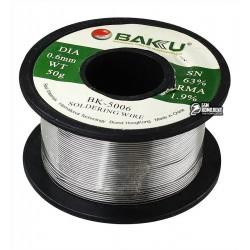 Припой BAKU BK-5006, Sn 63%, Pb 35,1%, flux 1,9%, 0,6 мм, 50 г