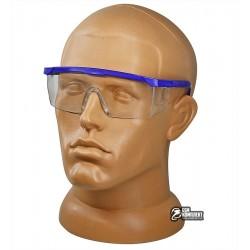 Очки защитные, синяя оправа с раздвижными дужками, прозрачные