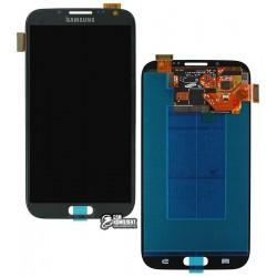 Дисплей для Samsung I317, N7100 Note 2, N7105 Note 2, T889, сірий, з тачскріном, оригінал (переклеєне скло)