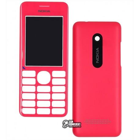 Корпус для Nokia 206 Asha, копия AAA, панели, красный