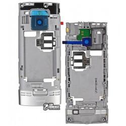 Средняя часть корпуса для Nokia X2-00, серебристый, пустая