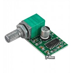 Аудио усилитель D-класса с регулятором громкости PAM8403, 2x3W 2.5-5V