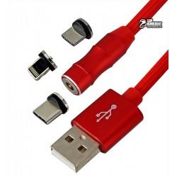 Кабель Micro-USB+Lightning+Type-C - USB, 3 в1 360, magnetic adsorption, магнитный