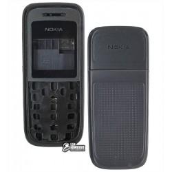 Корпус для Nokia 1208, high-copy, чорний, з середньою частиною
