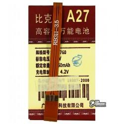 Аккумулятор универсальный для телефона, A27 1750mAh 63*38*4,2 мм