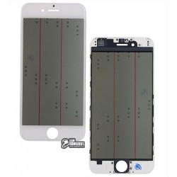Стекло корпуса для Apple iPhone 6, с рамкой, с поляризационной пленкой, с OCA-пленкой, белое