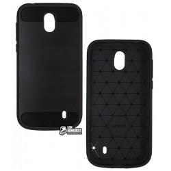 Чехол защитный для Nokia 1, Polished Carbon (SGP Slim Iron), силиконовый, черный