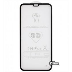Закаленное защитное стекло 4D Glass для Apple iPhone X, 3D, 0,3 мм 9H, черное