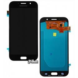 Дисплей для Samsung A720F Galaxy A7 (2017), черный, с сенсорным экраном (дисплейный модуль), (OLED), High Copy
