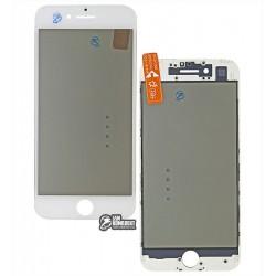 Стекло корпуса для Apple iPhone 7, с рамкой, с поляризационной пленкой, с OCA-пленкой, белое