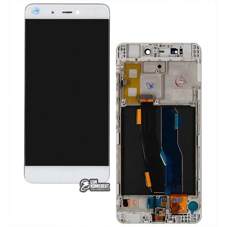 Дисплей для Xiaomi Mi5s, белый, с сенсорным экраном (дисплейный модуль), с рамкой, Original (PRC), сканер отпечатка не работает!